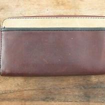 Fossil Sydney 3-Tone Brown Cream Black Leather Zip Around Wallet  Photo