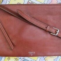 Fossil Sydney Genuine Leather Luggage Tan Crossbody Clutch Bag Purse Medium Photo