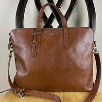 Fossil Sydney Large Laptop Bag Brown Leather Unisex Business Work Tote Photo