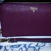 Fossil Sydney Leather Maroon Zip Around Wristlet for Iphone 6 Photo