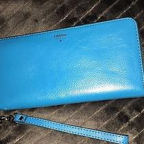 Fossil Sydney Leather Wallet Blue Glow Photo