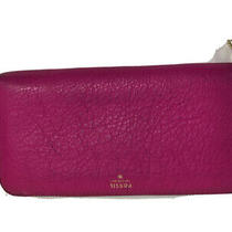 Fossil Sydney Leather Zip Around Wallet Wristlet Organizer Clutch Hot Pink Photo