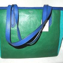 Fossil Sydney Shopper Green Blue Color Block Leather Large Zip Top Tote Nwt 178 Photo