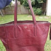 Fossil Sydney Shopper Tote Purse Bag Raisin Burgundy Maroon Leather Euc Photo