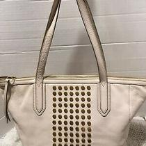 Fossil Sydney Studded Leather Shopper Tote Shoulder Handbag Carryall Purse Sand Photo