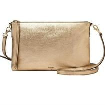 Fossil Sydney Top Zip Gold Leather Slim Shoulder Crossbody Handbag Purse Clutch Photo