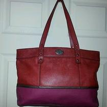 Fossil Sydney Two Tone Red Leather & Lamb Zipper Closure Shoulder Hand Bag Photo