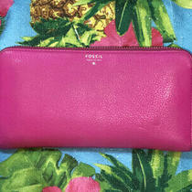 Fossil Sydney Zip Around Leather Fuchsia Clutch Wallet Photo