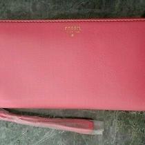 Fossil Sydney Zip Clutch Wallet Wristlet Bright Pink Leather Sl4265695 Nwt Photo