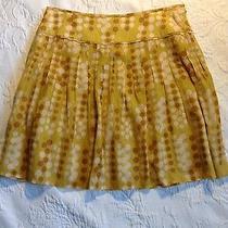 Fossil Sz 0(chk Measurement) Cotton/silk Mustardpolkadotpleated Alinelined Skirt Photo