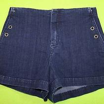 Fossil Sz 26 Womens Dark Blue Jeans Denim Shorts Stretch Mg51 Photo