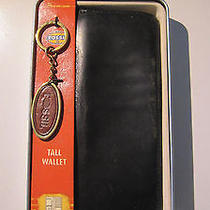 Fossil Tall Bifold Wallet and Keychain Set in Tin Box Black Leather Photo