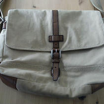 Fossil Tan and Brown Canvas / Leather Laptop Messenger Bag - Unused Photo