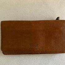 Fossil  Tan British Brown Leather Bifold Organizer Clutch Wallet Photo