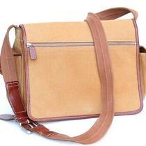 Fossil Tan Brown Canvas Leather Trim Messenger Shoulder Bag Medium Size  Photo
