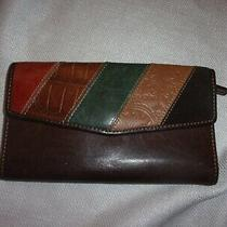 Fossil Tan Brown Colorful Patch Classic Clutch All in One Wallet 7x4