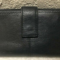 Fossil Tan Brown Genuine Leather Clutch Checkbook Wallet Id Credit Card Holder Photo