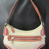 Fossil Tan Brown Leather Canvas Purse Tote Hobo Silver Studs Immaculate Mint Photo