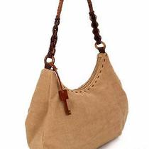 Fossil Tan Canvas Hobo Shoulder Bag Purse Detailed Strap Wood Key M 98 Exc Photo