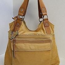 Fossil Tan Canvas Leather Bird Shoulder Bag Photo