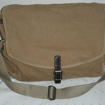 Fossil Tan Cloth Messenger Book Bag Crossbody Leather Accent Floral Interior Photo