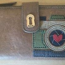Fossil Tan Leather Envelope Wallet Clutch What Vintage Are You Heart Stitched Photo