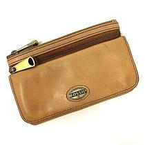 Fossil Tan Light Brown Leather Bifold Organizer Clutch Wallet Photo