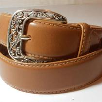 Fossil Tan Stitched Leather Belt W/ Silver Decorative Swirls Buckle S Photo