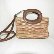 Fossil Tan  Weave Mini Tote Shoulder Bag Purse Leather Trim  Photo