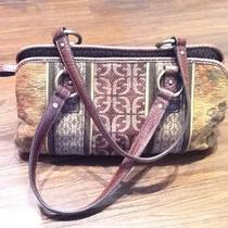 Fossil Tapestry Croco Leather Satchel Handbag Purse 7 X 12 Photo