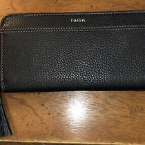 Fossil Tara Black Leather Zip-Around Clutch Wallet Nwt New Photo