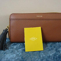 Fossil Tara Pebbled Leather Zip-Around Clutch Walletmedium Brownnew Photo