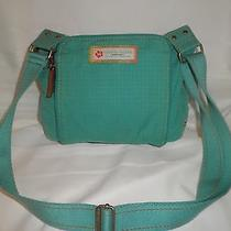 Fossil Teal Blue Fabric Crossbody Messenger Handbag Photo