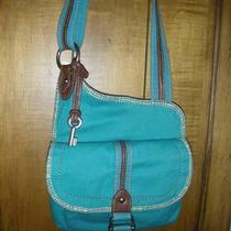 Fossil Teal Canvas Crossbody Messenger With Multi-Colored Pattern Inside Handbag Photo