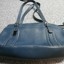 Fossil Teal Leather Purse Tote Photo