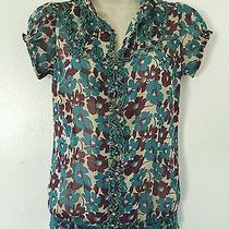 Fossil - Teal Purple Floral Print Short Sleeve Sheer Top Blouse Size Small Photo