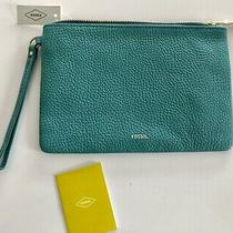 Fossil Tessa Pebbled Leather Wristlet Teal Large Clutch Pouch New With Tags60 Photo