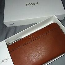 Fossil Tiegan Bx Clutch Medium Brown Leather Wallet New in Box Photo