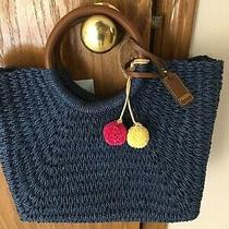 Fossil Tilly Tote Handbag in Navy Blue New With Tags With Beautiful Pom Poms Photo