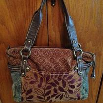 Fossil Tipton Blue & Brown Tapestry Handbag Purse Photo