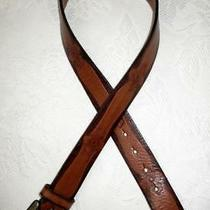 Fossil Tooled Leather Belt With Brass Buckle  Size S Photo
