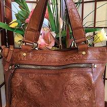 Fossil Tote Brown Floral Embossed Leather Dual Straps Photo