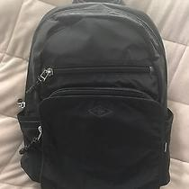 Fossil  Travis Backpack  Black Nylon  Brown Leather Trim  Nwt Photo