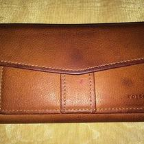 Fossil Tri-Fold Clutch Wallet in Red Leather Organizer With Check Book Holder Photo