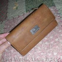 Fossil Tri Fold Vintage Brown Leather Wallet With Check Book Photo