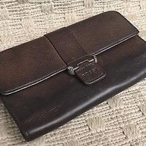 Fossil Tri-Fold Wallet Check Book Holder Brown Pebbled Distressed Leather 7x4 Photo