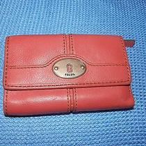 Fossil Trifold Pink Leather Wallet Photo