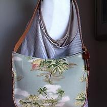 Fossil Tropical Print Denim Shoulder Bag W/ Woven Accents Zb 3863 Euc Lower  Photo