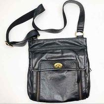 Fossil Turnlock Black Leather Crossbody Bag Purse Photo