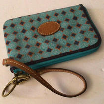 Fossil Turquoise Corner Zip Coated Canvas Wristlet Clutch Pouch Case Purse Photo